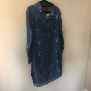 L&B Denim dress. Longhorn print, U.T.